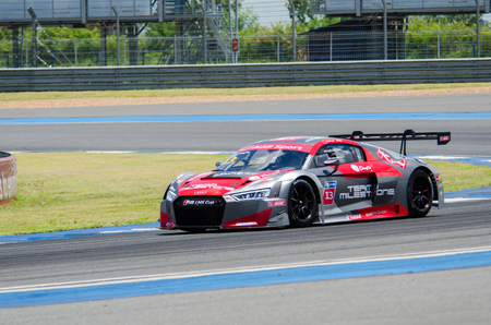 BURIRAM - THAILAND 24 : Audi R8 LMS Cup on display Buriram Super Race 2016 at Chang International Racing Circuit on July 24, 2016, Buriram, Thailand. Editorial