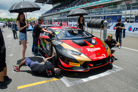 lamborghini: BURIRAM - THAILAND 24 : Lamborghini Super Trofeo Asia on display Buriram Super Race 2016 at Chang International Racing Circuit on July 24, 2016, Buriram, Thailand. Editorial