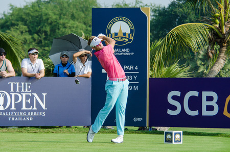 stakes: CHONBURI - DECEMBER 13 : Berry Henson of USA player in Thailand Golf Championship 2015 at Amata Spring Country Club on December 13, 2015 in Chonburi, Thailand.