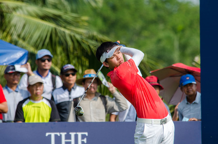 CHONBURI - DECEMBER 13 : Phachara Khongwatmai of Thailand player in Thailand Golf Championship 2015 at Amata Spring Country Club on December 13, 2015 in Chonburi, Thailand. Editorial