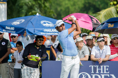 stakes: CHONBURI - DECEMBER 13 : Jyoti Randhawa of India player in Thailand Golf Championship 2015 at Amata Spring Country Club on December 13, 2015 in Chonburi, Thailand. Editorial