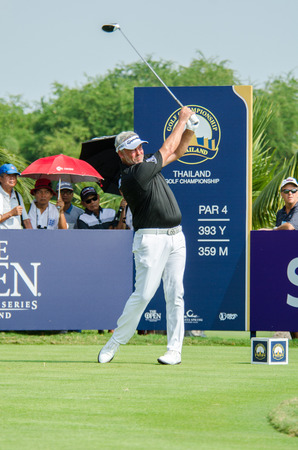 stakes: CHONBURI - DECEMBER 13 : Darren Clarke of Northern Ireland player in Thailand Golf Championship 2015 at Amata Spring Country Club on December 13, 2015 in Chonburi, Thailand.