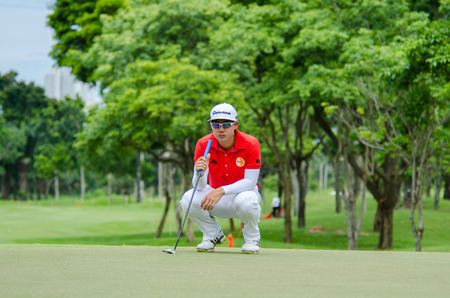 game drive: CHONBURI - JULY 31 : Jazz Janewattananond of Thailand in Kings Cup 2016 at Phoenix Gold Golf & Country Club Pattaya on July 31, 2016 in Chonburi, Thailand.
