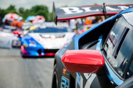 BURIRAM - THAILAND 24 : Lamborghini Super Trofeo Asia on display Buriram Super Race 2016 at Chang International Racing Circuit on July 24, 2016, Buriram, Thailand. 에디토리얼