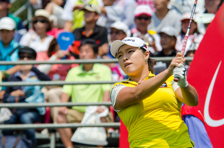 stakes: CHONBURI - FEBRUARY 28 : Ha Na Jang of South Korea in Honda LPGA Thailand 2016 at Siam Country Club, Pattaya Old Course on February 28, 2016 in Chonburi, Thailand.