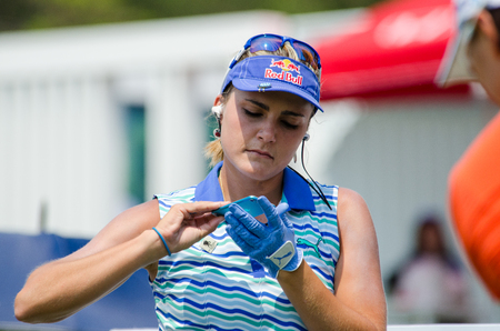 stakes: CHONBURI - FEBRUARY 28 : Lexi Thompson of USA champion of Honda LPGA Thailand 2016 at Siam Country Club, Pattaya Old Course on February 28, 2016 in Chonburi, Thailand. Editorial