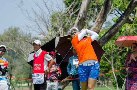CHONBURI - FEBRUARY 28 : Mika Miyazato of Japan in Honda LPGA Thailand 2016 at Siam Country Club, Pattaya Old Course on February 28, 2016 in Chonburi, Thailand.