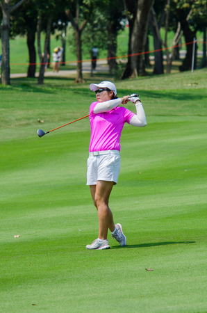 stakes: CHONBURI - FEBRUARY 28 : Candie Kung of USA in Honda LPGA Thailand 2016 at Siam Country Club, Pattaya Old Course on February 28, 2016 in Chonburi, Thailand.