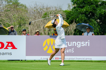 stakes: CHONBURI - FEBRUARY 28 : Xi Yu Lin of China in Honda LPGA Thailand 2016 at Siam Country Club, Pattaya Old Course on February 28, 2016 in Chonburi, Thailand.