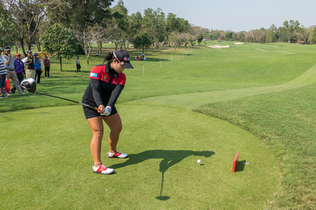 stakes: CHONBURI - FEBRUARY 27: Moriya Jutanugarn of Thailand in Honda LPGA Thailand 2016 at Siam Country Club, Pattaya Old Course on February 27, 2016 in Chonburi, Thailand. Editorial