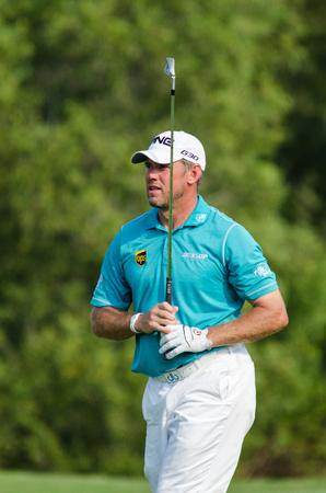 CHONBURI - DECEMBER 13 : Lee Westwood of England player in Thailand Golf Championship 2015 at Amata Spring Country Club on December 13, 2015 in Chonburi, Thailand.