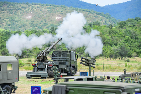 armistice: LOPBURI - NOVEMBER 2 : Gunnery practice with live ammunition of Thai Artillery military at Artillery Center on November 2, 2016 in lopburi, Thailand. Editorial