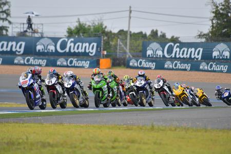 BURIRAM - DECEMBER 4 : Racing motorcycle of Asia Production 250cc. in Asia Road Racing Championship 2016 Round 6 at Chang International Racing Circuit on December 4, 2016, Buriram, Thailand. Editorial