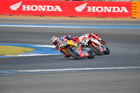 hayden: BURIRAM - MARCH 11: Nicky Hayden #69 of USA with Honda CBR1000RR in FIM Superbike World Championship (SBK) at Chang International Circuit on March 11, 2017 in Buriram Thailand. Editorial