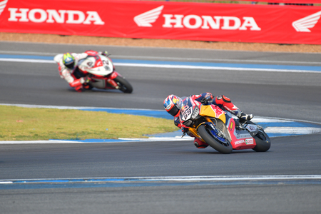 BURIRAM - MARCH 11: Nicky Hayden #69 of USA with Honda CBR1000RR in FIM Superbike World Championship (SBK) at Chang International Circuit on March 11, 2017 in Buriram Thailand.