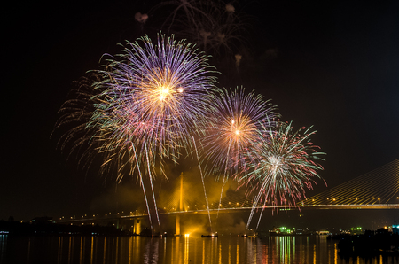 Firework display at Chao Phraya River, Bangkok Thailand. Stock Photo