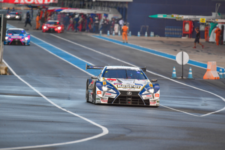 tire tracks: BURIRAM - OCTOBER 8 : Ryo Hirakawa and Nick Cassidy with LEXUS LC500 car championshiop of GT500 on display Autobacs Super GT 2017 Series Round 7 on October 8, 2017 at Chang International Racing Circuit, Buriram Thailand.