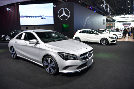 NONTHABURI - MARCH 28: Mercedes-Benz CLA 200 on display at The 38th Bangkok International Thailand Motor Show 2017 on March 28, 2017 Nonthaburi, Thailand. Editorial