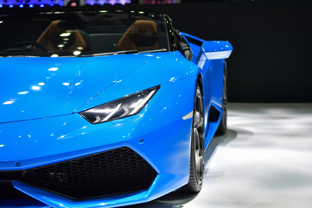 NONTHABURI - MARCH 28: Lamborghini Huracan Spyder car on display at The 38th Bangkok International Thailand Motor Show 2017 on March 28, 2017 Nonthaburi, Thailand.
