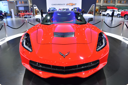 NONTHABURI - MARCH 28: the 2017 Chevrolet Corvette stingray car on display at The 38th Bangkok International Thailand Motor Show 2017 on March 28, 2017 Nonthaburi, Thailand. Editorial