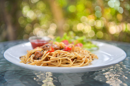 Italian spaghetti with chicken on white plate.