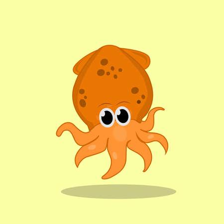 squid design in cute style for your website design. Logo, application, UI. Vector illustration. Logo