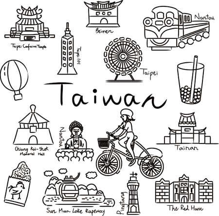Taiwan travel map symbols buildings
