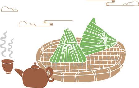 Dragon Boat Festival delicious meat dumplings and Chinese tea art painting style. Translation: Dragon Boat Festival Vektorgrafik