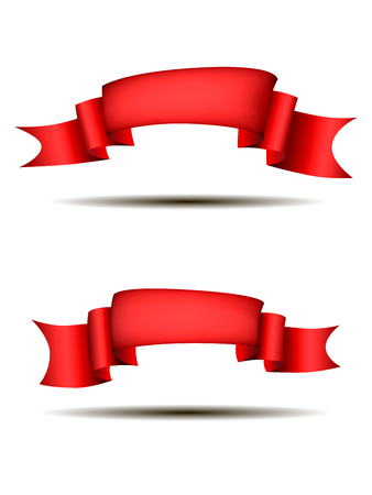Red ribbons horizontal banners