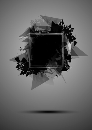 Abstract black explosion of triangles with a frame 向量圖像