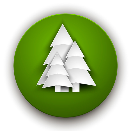 Paper Christmas trees on a green round background.