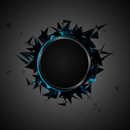 Abstract explosion of black glass. Vector illustration.