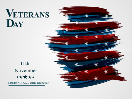Banner of happy veterans day holiday flag sign illustration design over a white background. Vector illustration. Illustration