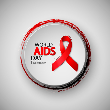 World Aids Day. Red AIDS ribbon. Brush typography for poster. Vector illustration