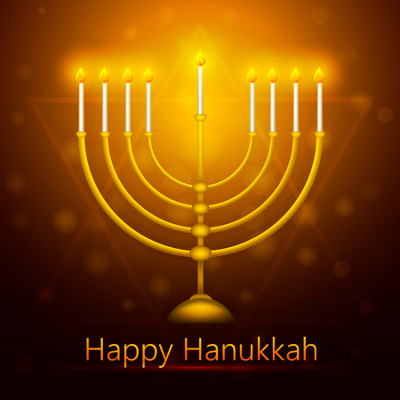 Vector Hanukkah background with menorah. Happy Hanukkah greeting card.