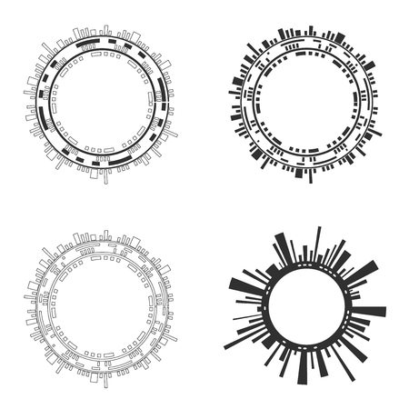 Set of abstract ircle futuristic user interfaces on white background. Vector illustration.