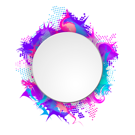 Bright and colorful banner with round frame Vector illustration.