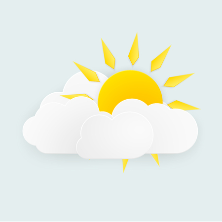 The sun and cloud weather over white background.