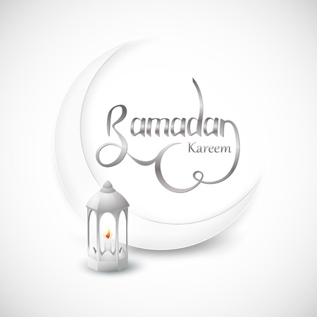 Ramadan Kareem islamic design crescent moon on white abstract background. Vector Illustration for greeting card, poster and banner. 일러스트