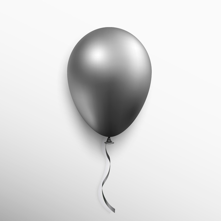 Realistic black balloon isolated on white background. Vector illustration.