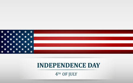Happy 4th of July, USA Independence Day. Fourth of July greeting card template with american national flag. Vector illustration