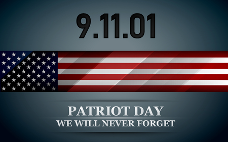 Patriot day. Design for postcard, flyer, poster, banner. 11th of september. We Will Never Forget. Vector illustration.