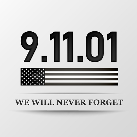 11 september. Patriot day. We Will Never Forget. Design for postcard, flyer, poster, banner. Vector illustration.