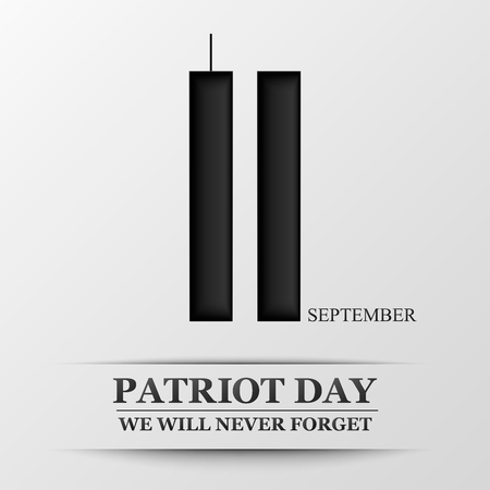 11 september. Patriot day. Design for postcard, flyer, poster, banner. Vector illustration. Vettoriali
