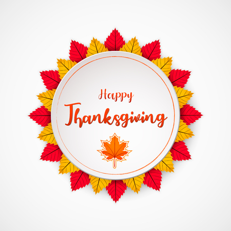 Happy Thanksgiving Day background with autumn leaves, can be use as flyer, banner or poster.