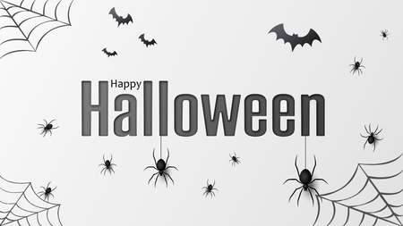Happy halloween. Vector isolated pattern with hanging spiders and bats spider for banner, poster, greeting card. Vector illustration EPS10 Illustration