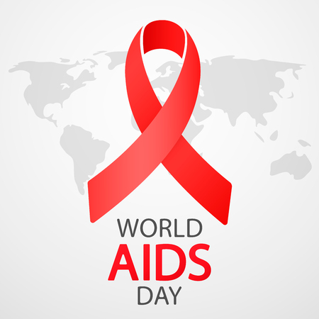 World AIDS Day 1 December. Poster with Red Ribbon on world map.