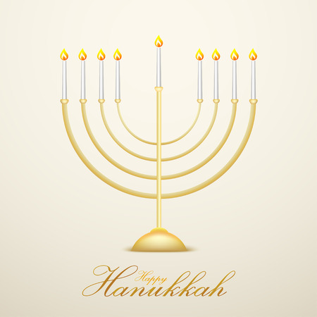 Hanukkah, the jewish festival of lights festive background with menorah on white abstract background. Vector illustration