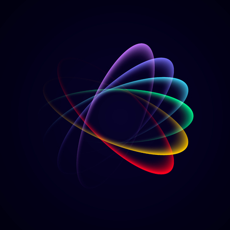 Abstract bright neon multicolor loop with transparency.