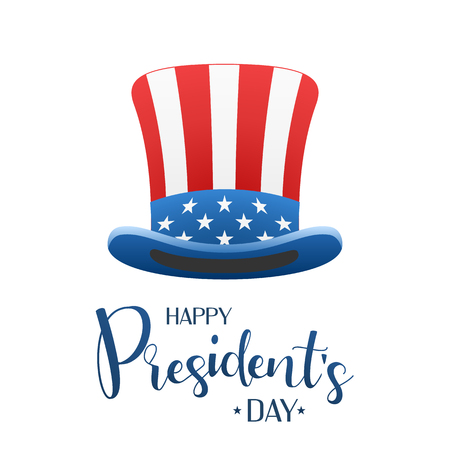 Happy Presidents day design background with uncle Sam hat. Calligraphic lettering